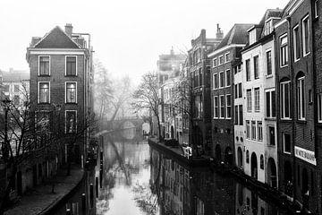 Lichte Gaard en de Oudegracht in de mist van De Utrechtse Grachten