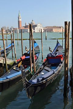 Venetië, aan Canal Grand met Basiliek Van Santa Maria della Salute van Getty Betlem