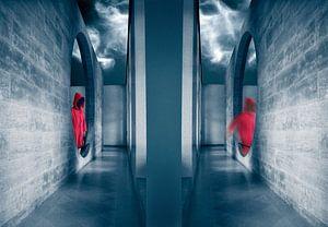 Beweging in rood en blauw