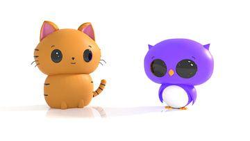 Kat en uil in Kawaii stijl van