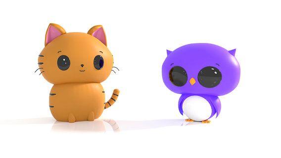 Kat en uil in Kawaii stijl
