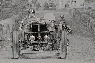 Oude raceauto van Frank de Ridder