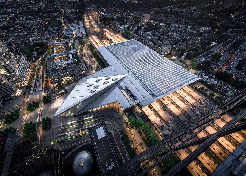 Rotterdam Centraal vanaf 150m hoog van Jeroen van Dam
