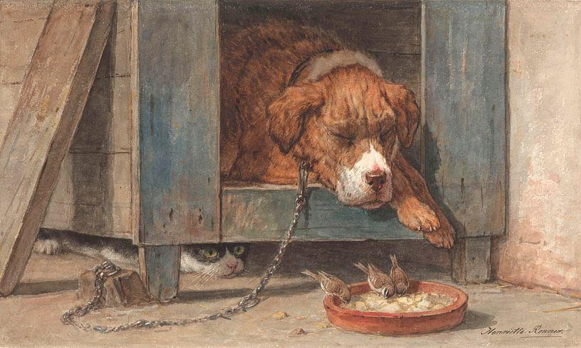 Katze, die mit einem schlafenden Hund Vögel ausspioniert, Henriette Ronner-Knip von Meesterlijcke Meesters