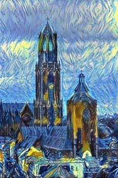 Schilderij van Utrecht: Dom in de stijl van Van Gogh