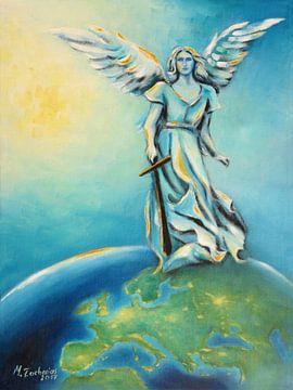 Archangel Michael - hand painted angel art sur Marita Zacharias