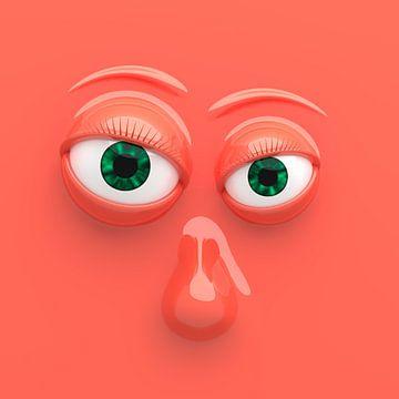 Grappig gezicht oranje van Jörg Hausmann