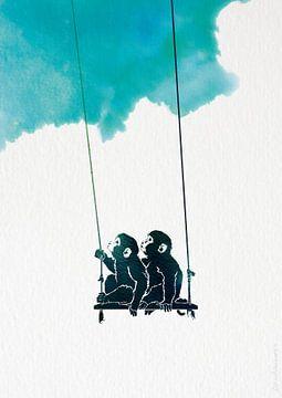 Best friends always - illustratie van aapjes van Ilse Schrauwers, isontwerp.nl
