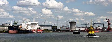 Skyline op Rotterdam vanaf de Nieuwe Waterweg van M  van den Hoven