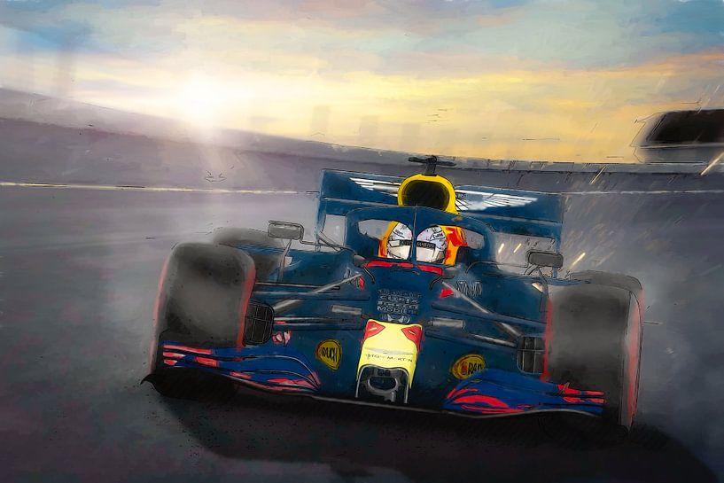 Red Bull met Max Verstappen op Zandvoort in 2020 van Arjen Roos