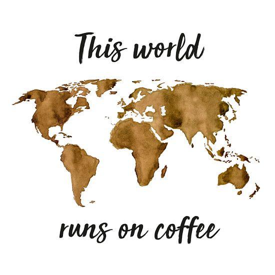 Wereldkaart van Espresso | Quote | Wandcirkel