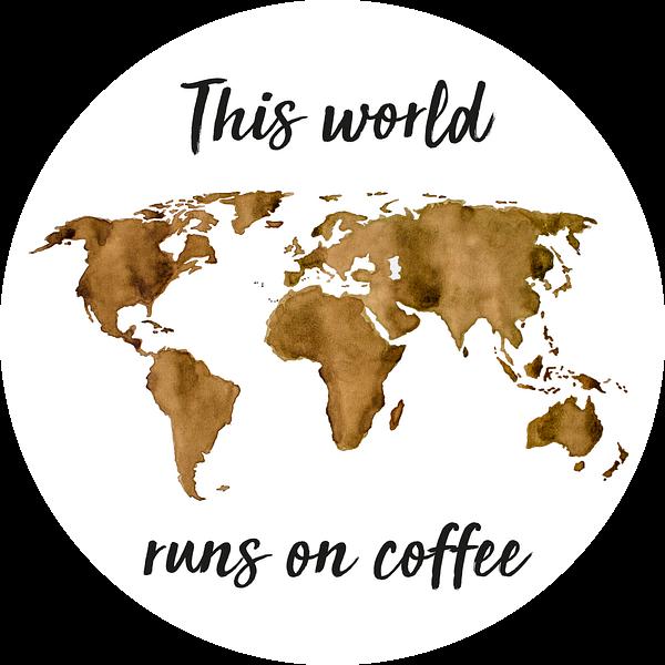 Wereldkaart van Espresso | Quote | Wandcirkel van Wereldkaarten.Shop