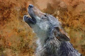 Digitale art huilende Timberwolf van gea strucks
