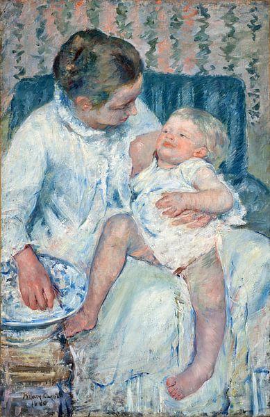 Mary Cassatt. Mother About to Wash Her Sleepy Child von 1000 Schilderijen