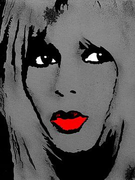Brigitte Bardot - Lippenstift von Kathleen Artist Fine Art