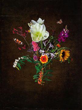 Nature morte avec des fleurs et des insectes sur Anouschka Hendriks
