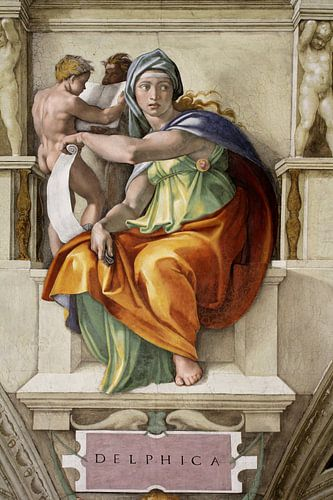 Michelangelo. Sixtijnse Kapel, Delphische Sibille van 1000 Schilderijen