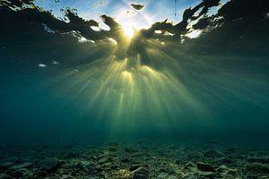 Onderwater wolkenstralen/god rays boven het rif van