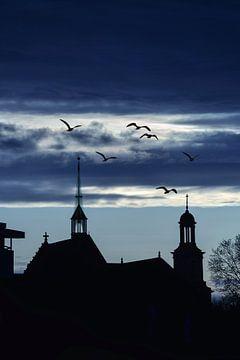 Silhouet van twee kerken in Breda