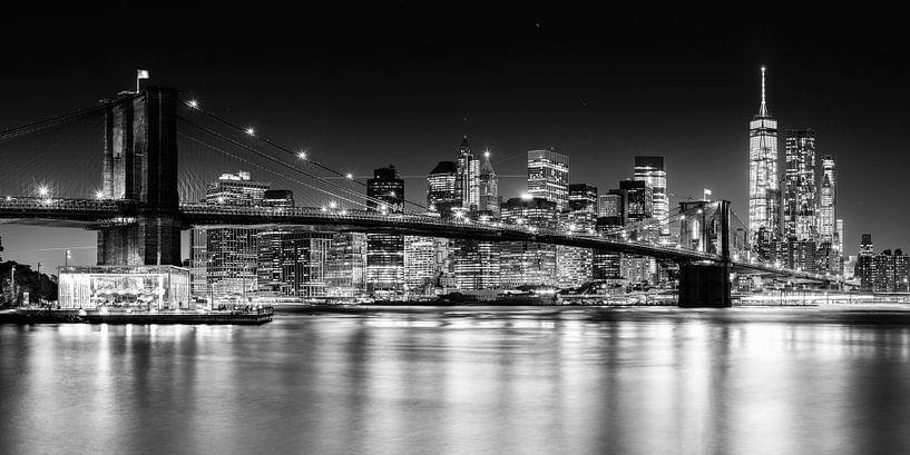 New York, Brooklyn Bridge (schwarz weiß) van Sascha Kilmer