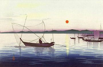 Boote und eine untergehende Sonne, Ohara Koson (1900 - 1936) von Atelier Liesjes