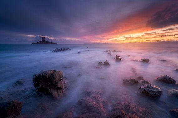 Sonnenuntergang über dem Dramont und der Goldenen Insel