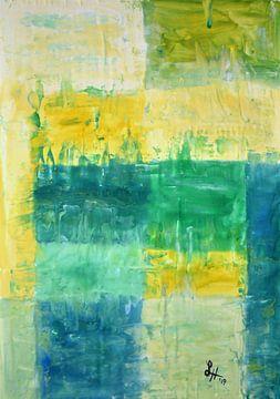 Vierkanten X in geel, groen en wit van elha-Art