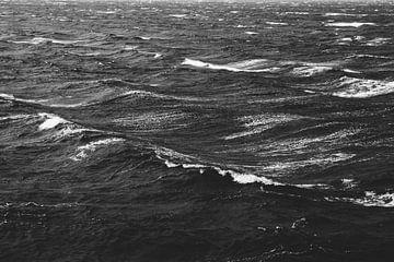 Schwarz-Weiß-Foto einer stürmischen See von Patrik Lovrin