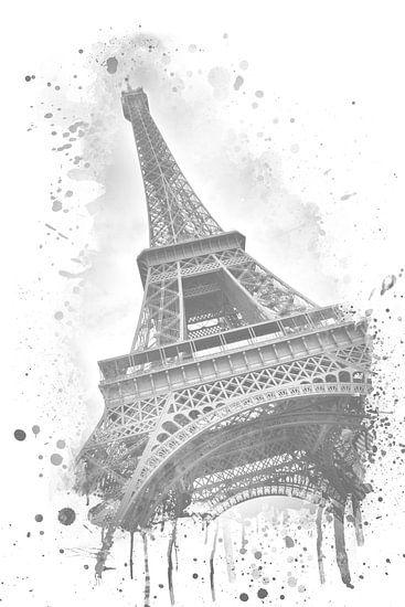 Eiffeltoren aquarel grijs  van Melanie Viola
