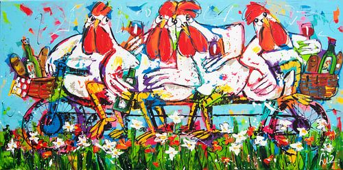 Kippen op de fiets van Vrolijk Schilderij