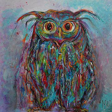 Eule Bunter Nachtvogel von Kunstenares Mir Mirthe Kolkman van der Klip