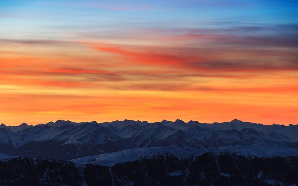 Bergen zonsondergang