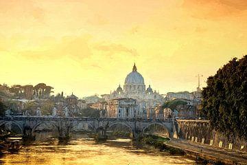 Rom Petersdom Abendstimmung gemalt von Rolf Fischer