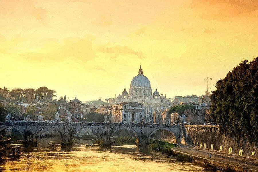 Rom Petersdom Abendstimmung gemalt van Rolf Fischer