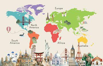Carte du monde avec les lieux célèbres sur Creatieve Kaarten