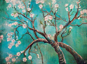 Mandelzweige, Mandelblüten (Malerei) von Els Fonteine