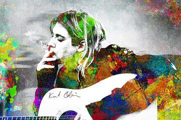 Kurt Cobain Abstraktes Porträt in verschiedenen Farben von Art By Dominic
