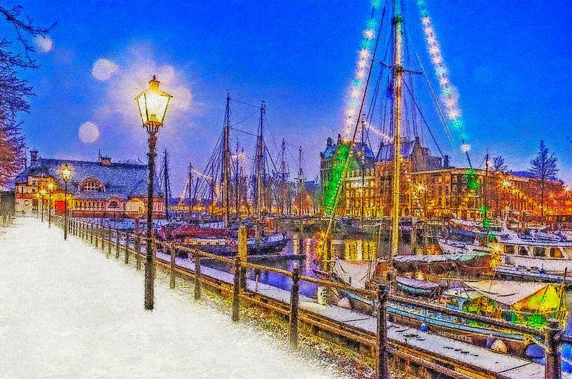 Winterbeeld Veerhaven van Frans Blok