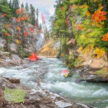 Wasserfall im Herbst in Kanada von Rietje Bulthuis