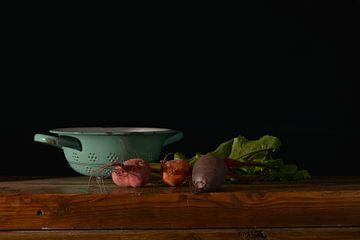 Retro keuken met knolgewassen van