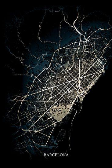Barcelona - Abstracte Plattegrond  in Zwart Geel Goud