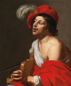Jan van Bijlert, Een jonge violist in een rode pet en mantel