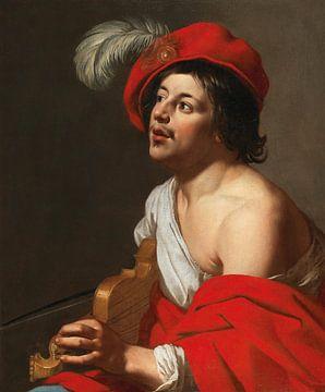 Jan van Bijlert, Een jonge violist in een rode pet en mantel van Atelier Liesjes