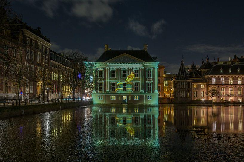 Projektion des Brunnens auf das Mauritshuis von Marian Sintemaartensdijk