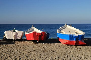 The Colored Fishing Boats sur Cornelis (Cees) Cornelissen