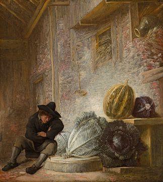 Slapende jongen in een stal, François Ryckhals