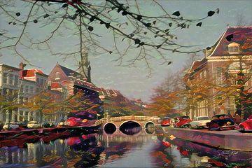 Schilderij Rapenburg Leiden met Nonnenbrug en Academiegebouw