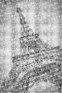 Typografie, kunst, PARIS Eiffel toren met hart   zilver