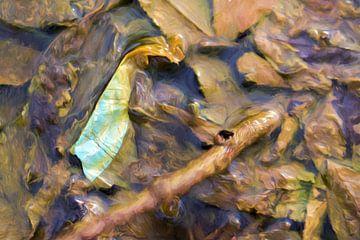 Klein plastic in het water.  van Robert Wiggers