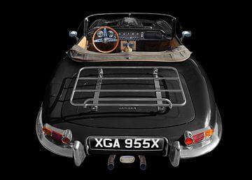 Jaguar E-Type Roadster Series I in schwarz-weiss von aRi F. Huber
